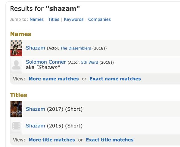 Virkelig, ikke noen andre treff for shazam dere vil fremheve i stedet